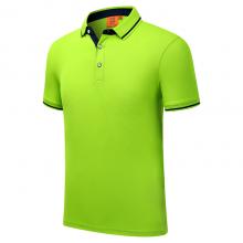 贵州POLO衫定做,短袖广告衫批发,ZHIT-1878A605果绿色精梳棉陶瓷桑蚕丝翻领短袖广告衫