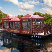 8米餐饮船 户外观光船 画舫木船 水上旅游船 木质休闲船 玻璃钢电动船