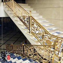 黄铜雕刻楼梯护栏 别墅楼梯铜雕花护栏 酒店全浮雕铜艺楼梯护栏