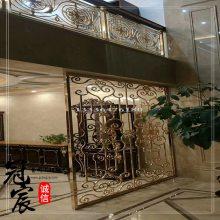 冠宸金属 高端铜雕花屏风隔断 酒店高端新中式铜艺雕刻屏风花格