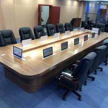 大型实木油漆会议桌长桌智能无纸化会议系统一体多功能升降显示器