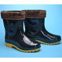 创盛男加绒短筒雨鞋男士秋冬加棉保暖牛筋雨靴 低帮劳保水鞋