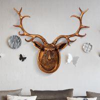 正九生活创意欧式风格仿真动物盾牌鹿头墙面壁挂装饰简品家居玄关KTV会所树脂工艺品壁挂礼品摆件