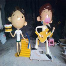 茂名公园玻璃钢卡通人物雕塑 店铺形象卡通人偶雕塑摆件