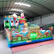 厂家直销广场大型充气蹦蹦床 15×8米小猪佩奇滑梯