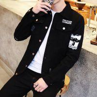 春季男士黑色外套青少年潮流夹克男装青少年韩版修身帅气牛仔衣服