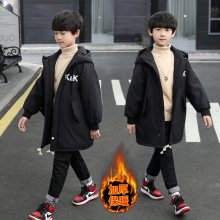 男童棉衣加绒外套儿童童装男童2019冬装新款加绒加厚中长款棉服KK棉袄棉衣