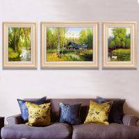 客厅装饰画沙发背景简欧墙画山水风景挂画餐厅欧式田园三联画壁画