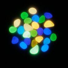 彩色夜光石子 园林鱼缸水族造景 人造萤石荧光发光鹅卵石夜光石