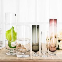 jsh唯美 瓶底气泡直筒透明玻璃花瓶 水培花瓶花器婚庆路引 水晶花