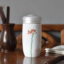 双层隔热陶瓷杯随手杯 时尚旅行茶杯办公室水杯 荷花礼品杯