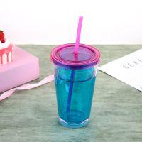 16oz双层塑料吸管杯 满印图案PVC片透明杯子 安全无毒水杯批发