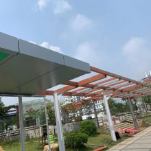 地铁站出口人行通道连廊雨棚氟碳灰白色铝单板