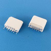 苹果全塑双排插板DIP母座/8PIN/弯脚白胶/H=6.5mm/夹板式
