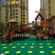 幼儿园户外滑梯 山东厚朴幼儿园儿童木制滑梯户外器材定制