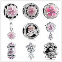 S925纯银手链 夏季新款滴胶桃花番家串珠 吊珠镶钻滴胶珠子女