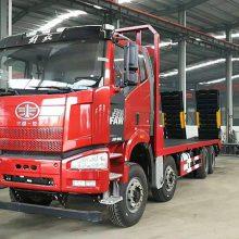 解放350马力国6前四后八挖机板车价格|330挖掘机平板运输车厂家支持分期付款