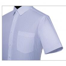 贵州男衬衣定制,商务衬衣,***行政夏装订做批发,GY7022D蓝色细条纹竹纤维超细旦短袖男衬衣