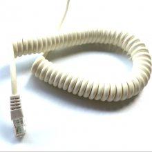 厂家供应 2*0.5平方扁弹簧线 PU弹簧线 PVC螺旋线 电话线 网线
