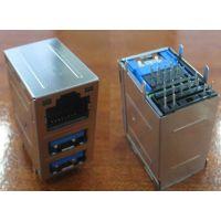 原装RJ45+2USB3.0 Conn. With LED 1G RJ45+双层USB3.0母座KY