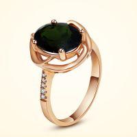 天然红碧玺戒指18k金 宝石戒指女 镶嵌钻石 彩金戒指
