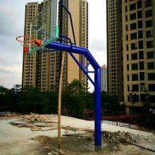 湖南常德地埋式篮球架 学校圆管篮球柱 小区固定式篮球架安装