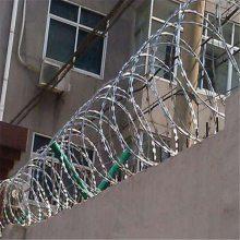 小区围墙防护网 螺旋形刀刺刺网 钢丝放爬角网
