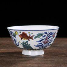 景德镇陶瓷特色仿古青花釉中彩骨瓷碗 生日寿辰定制礼品餐具单碗