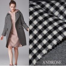 新款 黑白格双面羊绒毛呢 格子服装面料秋冬毛料布