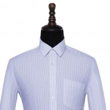 贵州男衬衣定制商务衬衣***行政夏装订做批发GY7022蓝色细条纹竹纤维超细旦长袖男衬衣