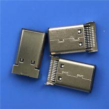 TYPE-C 24P公头 沉板0.95mm 双排贴板SMT 90度插板DIP USB 公座
