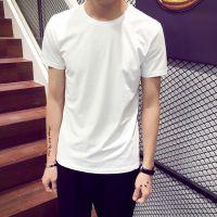 韩版夏季男士黑白纯色t恤男短袖圆领修身打底衫半袖上衣服男装潮