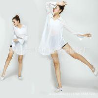 时间都去哪儿了舞蹈服演出服现代舞表演服装衬衣白色女服装新款