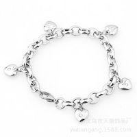 外贸欧美原单钛钢椭圆珍珠链不锈钢珠子手工心形女士手链