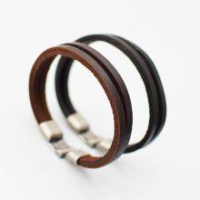 源头工厂男士复古手链真皮对扣手链100%牛皮双层皮条手饰优质低价
