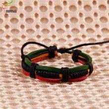 欧美流行复古牛皮 编织手链自定义颜色腊线编织喷漆diy多色手环