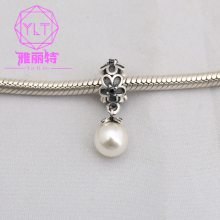 雅丽特 diy串珠 精品挂件 欧美新款S925纯银镶钻夏季雏菊珍珠吊坠