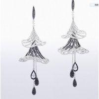 私人订制纯银钛锗保健耳环 耳钉 青月耳环—宝石首饰定制厂家