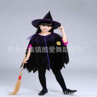 万圣节儿童演出服装 舞台表演服 化妆舞会巫婆服 巫婆披风 小巫女