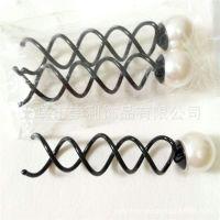 韩版diy时尚饰品 珍珠螺旋夹 盘发工具 大号美发发叉头饰