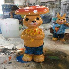 卡通兔子雕塑 花盆兔子雕塑摆件 玻璃钢动物雕塑 恒创玻璃钢雕塑厂家