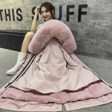 武汉大夹街服装市场 派克服女2019新款 狐狸毛皮草内胆外套女中长款可拆卸毛领大衣冬季