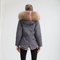 欧美外贸原单批发奶奶灰冬季保暖棉服2018新品短款派克服皮草外套