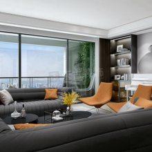 龙湖景粼玖序200平米大平层设计方案-现代风格装修案例效果图