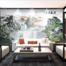 定制无缝中式水墨山水电视背景装饰画源远流长壁画墙纸