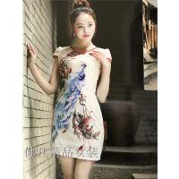 【花之晨】现代旗袍修身连衣裙印花刺绣女装厂家原单现货走份批