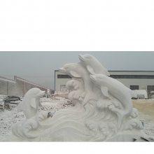 海豚雕塑石雕动物大理石雕刻厂家定制