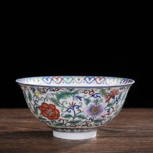 景德镇粉彩缠枝花仿古餐具 描金家用陶瓷饭碗 生日做寿碗定制