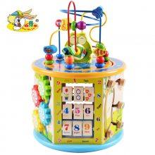 幼得乐儿童玩具大号八功能绕珠百宝箱益智串珠木制多功能早教礼物