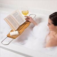 浴缸架子楠竹多功能浴缸置物架 浴缸板 iPad手机架泡澡神器浴缸架